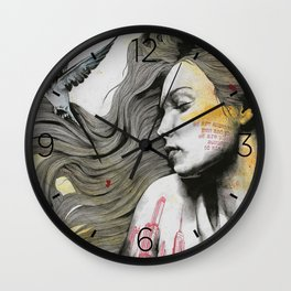 Monument (long hair girl with bird and skyline tattoo) Wall Clock