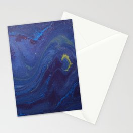 Blue Starry Night Watercolor Stationery Cards