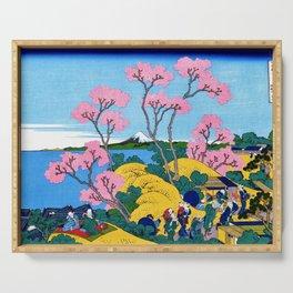 Mt,FUJI36view-Tokaido shinagawa goten mounten fuji view - Katsushika Hokusai Serving Tray