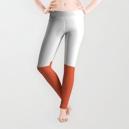 Burnt Orange and White Minimalist Color Block Leggings