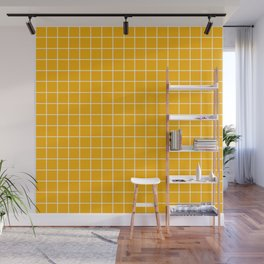 Chinese yellow - orange color - White Lines Grid Pattern Wall Mural