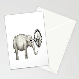 Elefante con gafas, se mira en el espejo Stationery Cards