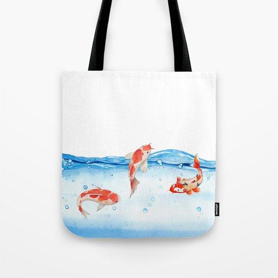 Happy koi fish- fishes sea water lake Tote Bag