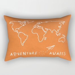 Adventure Map - Retro Orange Rectangular Pillow