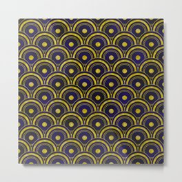 Midnight Blue, Ebony Black and Gold Art Deco Pattern Metal Print