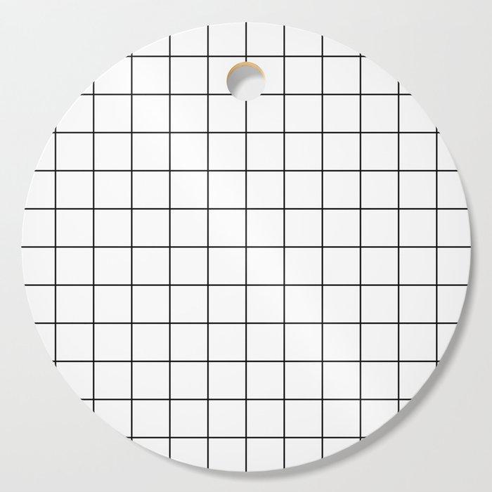 Grid Simple Line White Minimalist Cutting Board