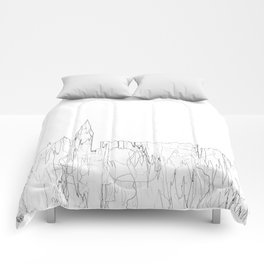 Galway, Ireland Skyline B&W - Thin Line Comforters