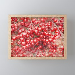 Red holly berries in marbled pattern Framed Mini Art Print