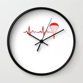 Skydiving Heartbeat Skydive Extreme Sports Parachute Skydiving Gifts Wall Clock