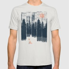A Fox in the Wild... Silver MEDIUM Mens Fitted Tee