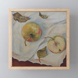 YELLOW APPLES Classic Still Life oil painting for kitchen Impressionism Framed Mini Art Print