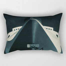 Vintage French Normandie Ocean Liner Graphic Poster Ad Ship Boat Rectangular Pillow
