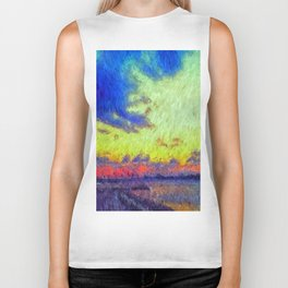 colorful sunset impressionist painting Biker Tank