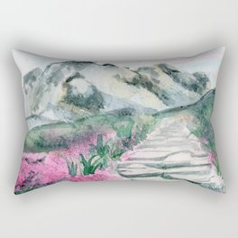 Flower Path and Mountains Rectangular Pillow
