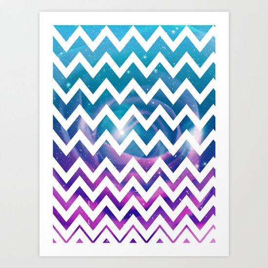 Universal Geometry - Chevron with purple and aqua galaxy  Art Print