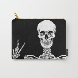 Human skeleton posing isolated over black background vector illustration Carry-All Pouch
