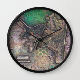 redstart bird canvas collage Wall Clock