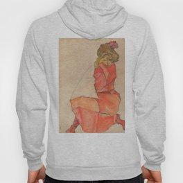 Egon Schiele - Kneeling Female in Orange-Red Dress Hoody