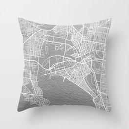 Silver Melbourne map Throw Pillow