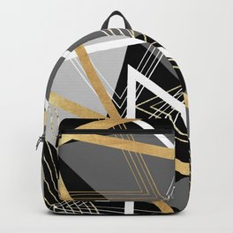 Original Gray and Gold Abstract Geometric Backpack