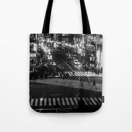 Shibuyacrossing at night - monochrome Tote Bag