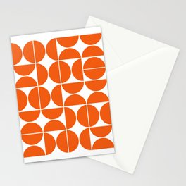 Mid Century Modern Geometric 04 Orange Stationery Cards