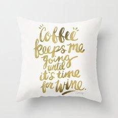 Coffee & Wine – Gold Throw Pillow