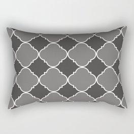 Pantone Pewter Ornamental Moroccan Tile Pattern with White Border Rectangular Pillow