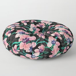 Pretty Pink Orchid Flower Paint Black design Floor Pillow