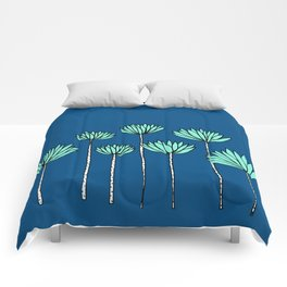 Blue and Teal Tropical Botanical Print by Emma Freeman Designs Comforters