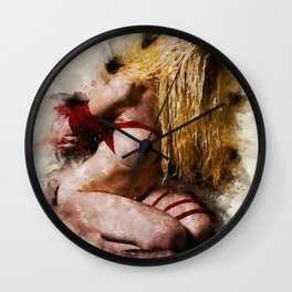 Shibari drawing Wall Clock