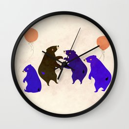 A sleepy bear party Wall Clock