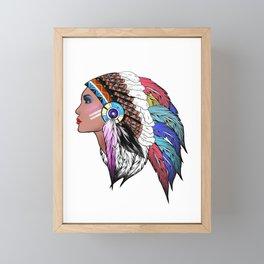 Native American woman,Indian American design Framed Mini Art Print