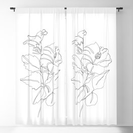 Floral one line drawing - Hibiscus Blackout Curtain