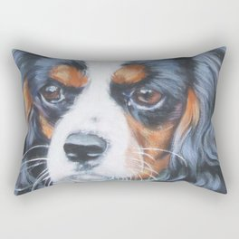 Beautiful Tricolour Cavalier King Charles Spaniel Dog Painting by L.A.Shepard Rectangular Pillow