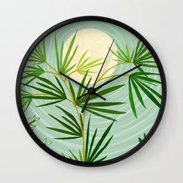 Summer Moon / Tropical Garden Illustration Wall Clock