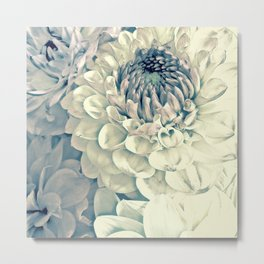 Creamy Turquoise And Pink Dahlias Metal Print