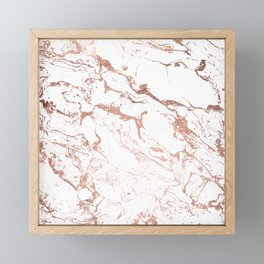 Modern chic faux rose gold white marble pattern Framed Mini Art Print