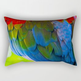 Spectacular Feathers On Scarlet Macaw Parrot's Back Rectangular Pillow
