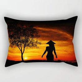 Woman on the beach Rectangular Pillow
