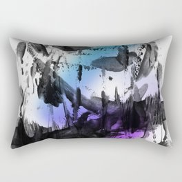 Thick Bold Black Ink Abstract Expressionism Rectangular Pillow