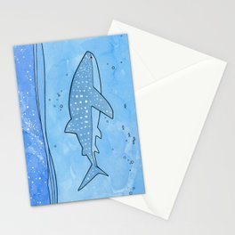 Whale shark and stars Stationery Cards