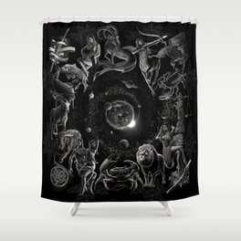 XXI. The World Tarot Card Illustration (Zodiacs) Shower Curtain