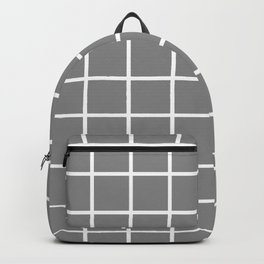 GRID DESIGN (WHITE-GREY) Backpack