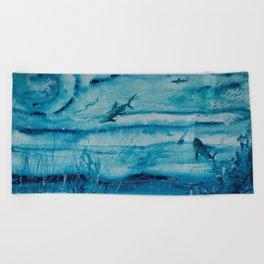 Sharks in deep blue Beach Towel