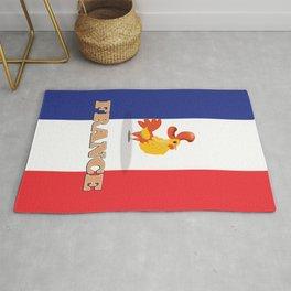 France cockerel travel poster Rug