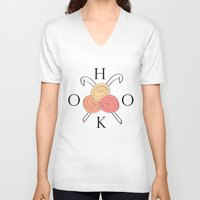 hook V-neck T-shirts featuring HOOK crochet  by Southernemma