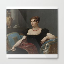 Artwork by Henri-Francois Riesener, Portrait of a seated lady in a black dress Metal Print