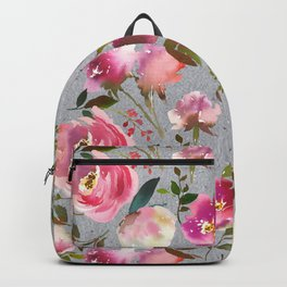 Gray blush pink coral yellow hand painted floral Backpack