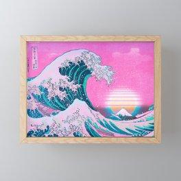 Vaporwave Aesthetic Great Wave Off Kanagawa Framed Mini Art Print